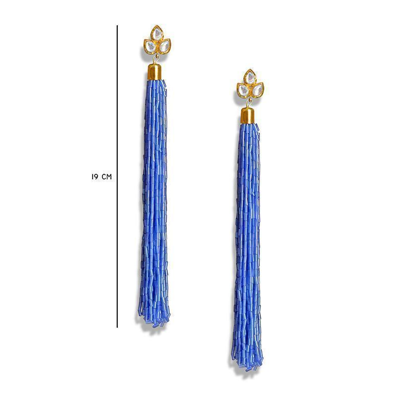 Antique Long Tasseled Dangling Glass Beads Fashion Earrings For Women And Girls