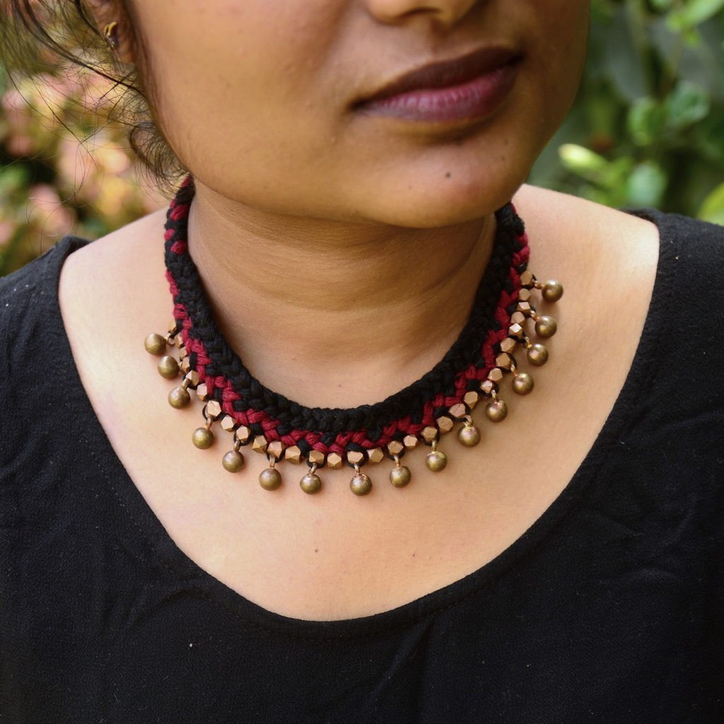 Maroon Dhokra Tribal Necklace