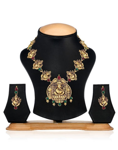 Zaveri Pearls Gracious Ganesha Necklace Set