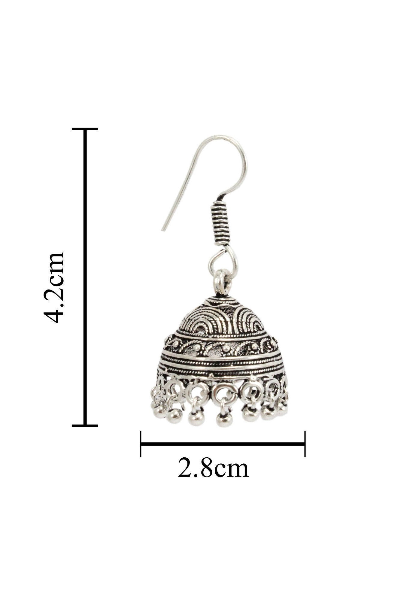 German Silver Oxidised Concentric Semi Circle Design Tribal Jhumka
