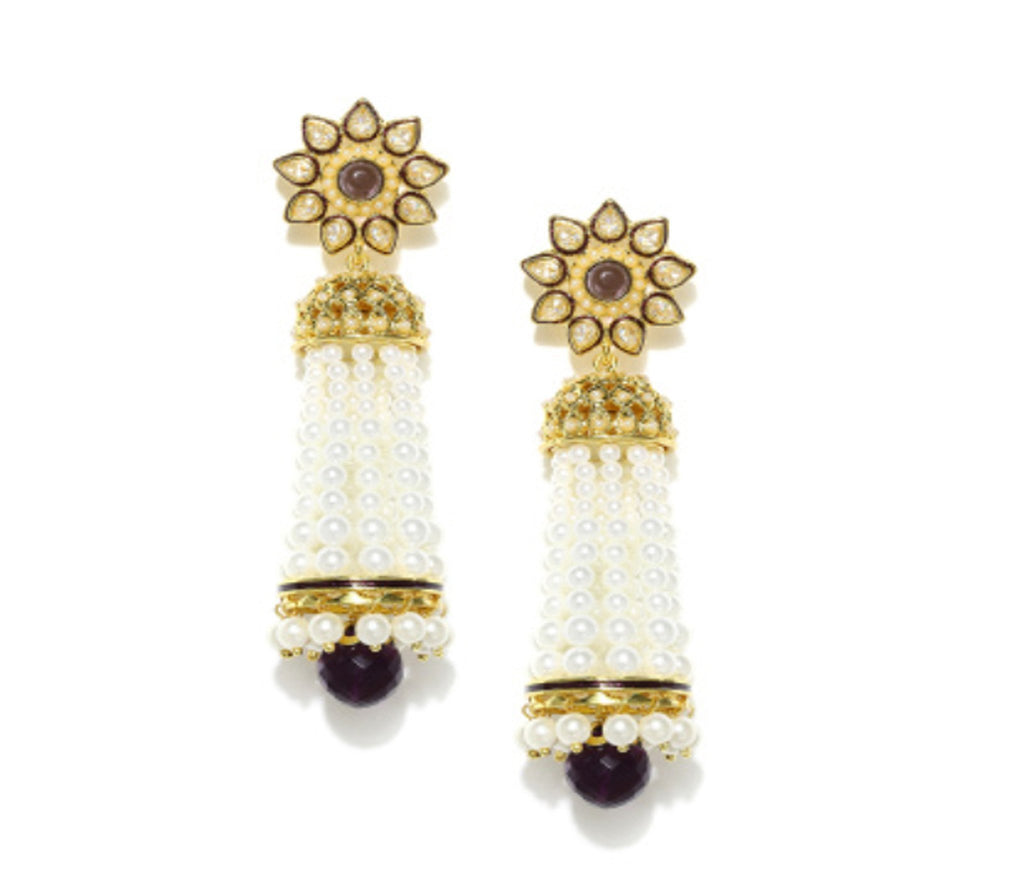 Fida Gold And White 2 In 1 Jhumki Earrings