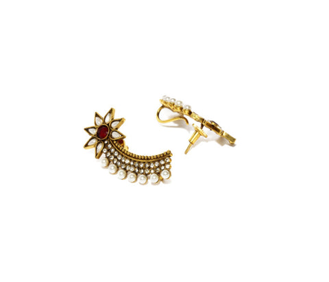 Fida Gold And Red Pearl Ear Cuff