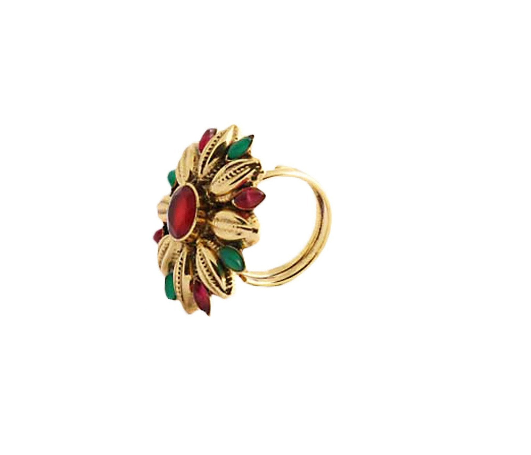 Fida Gold,Red And Green Floral Ring