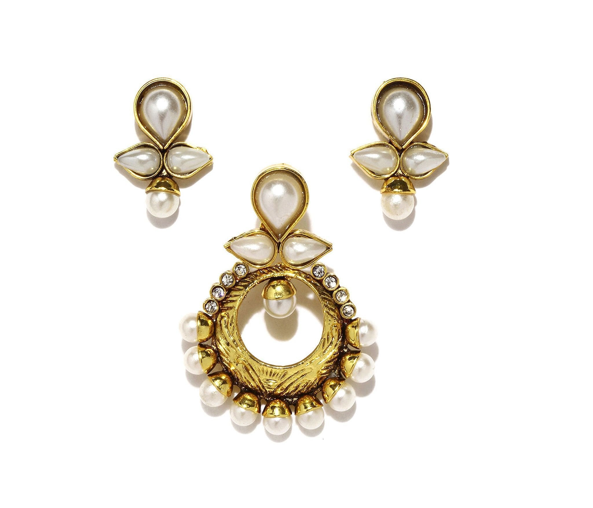 Fida Gold Floral Earring And Pendant Set