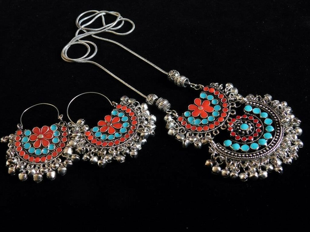Oxidised German Silver Double Pendant Necklace Set With Ghungroo Droppings