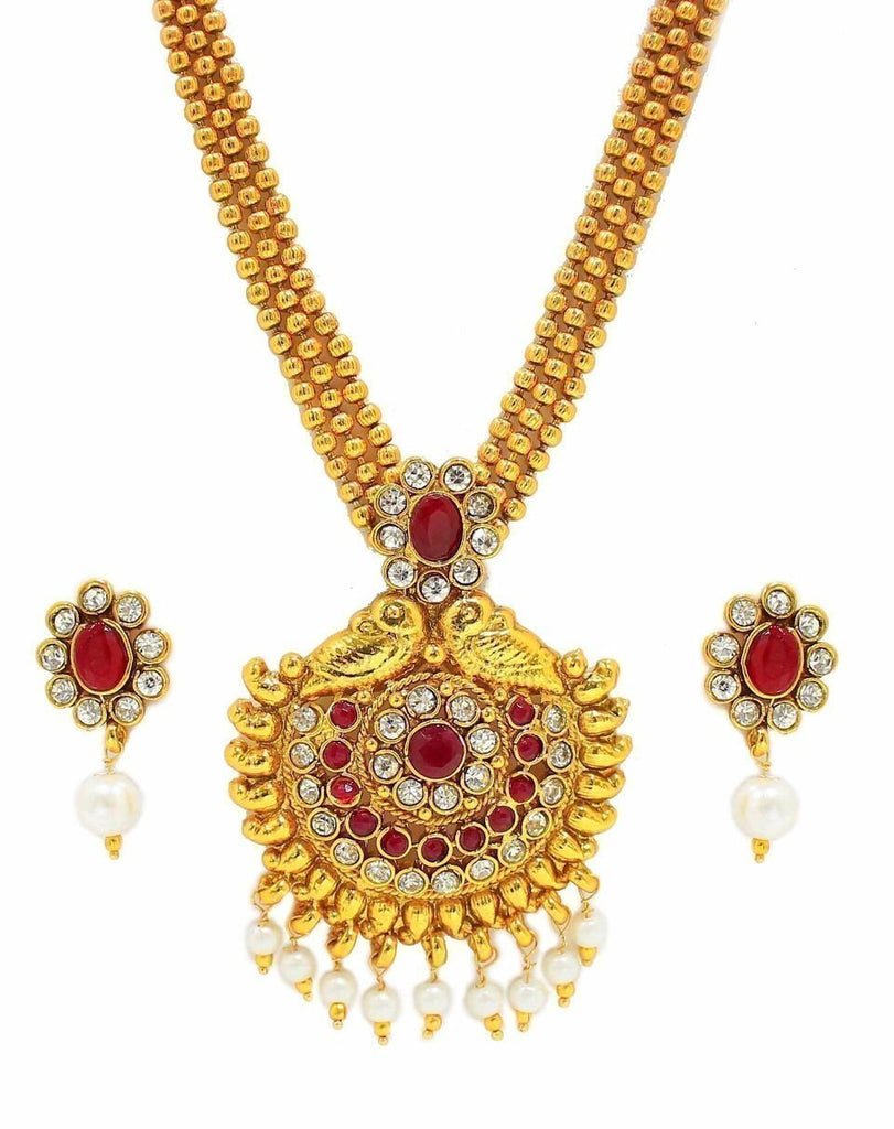 Zaveri Pearls Three Strand Necklace With Drop Earring
