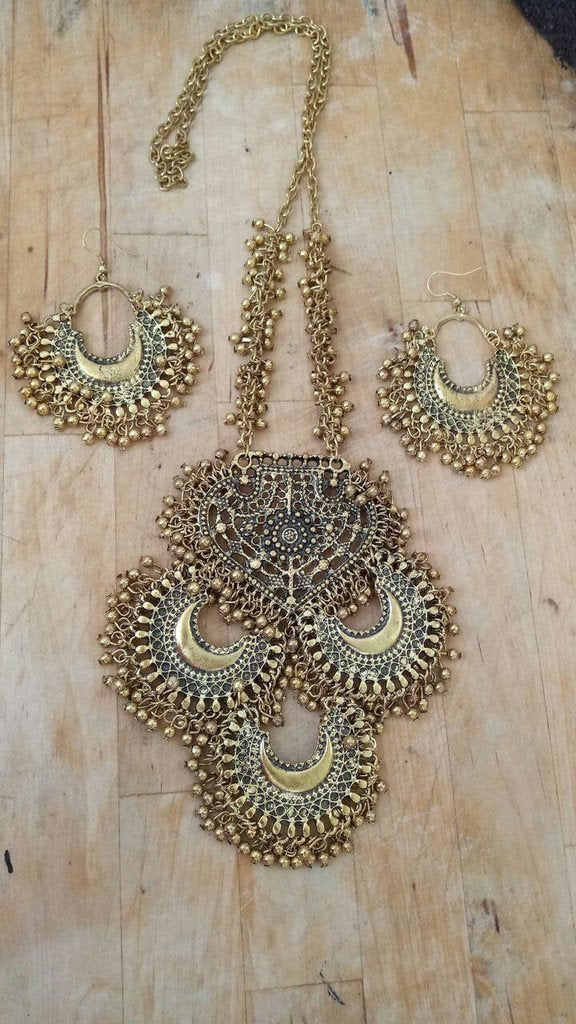 Gold Plated German Silver Chandbali Necklace Set