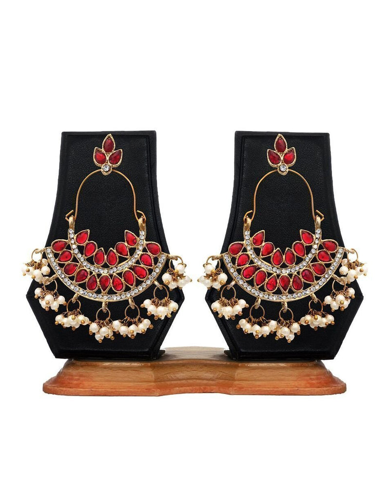 Zaveri Pearls Pearl Ruby Dangle & Drop Earrings
