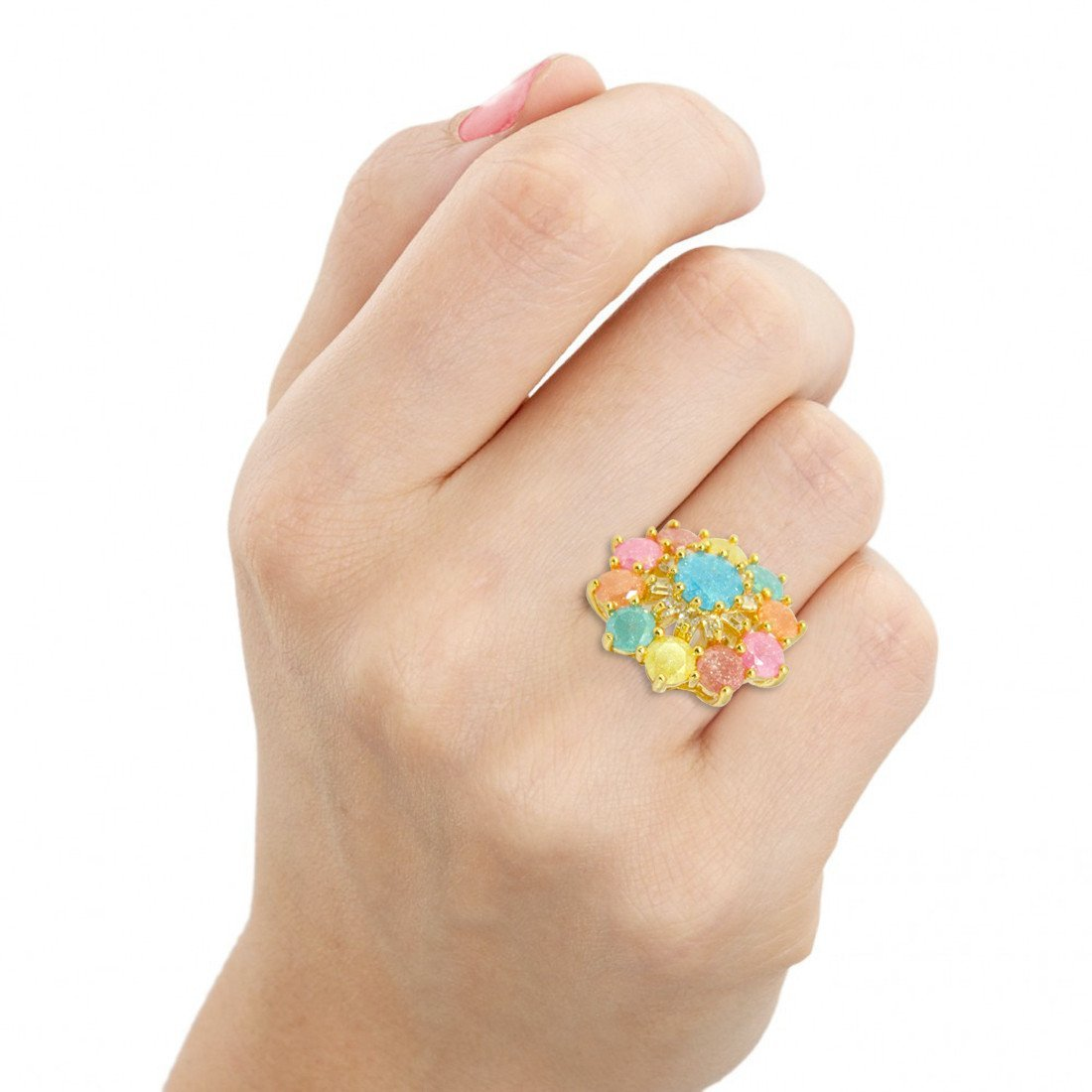 Pastel Floral Cocktail Ring