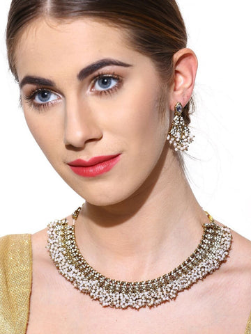 Zaveri Pearls Mesmerising Antique Floral Necklace Set