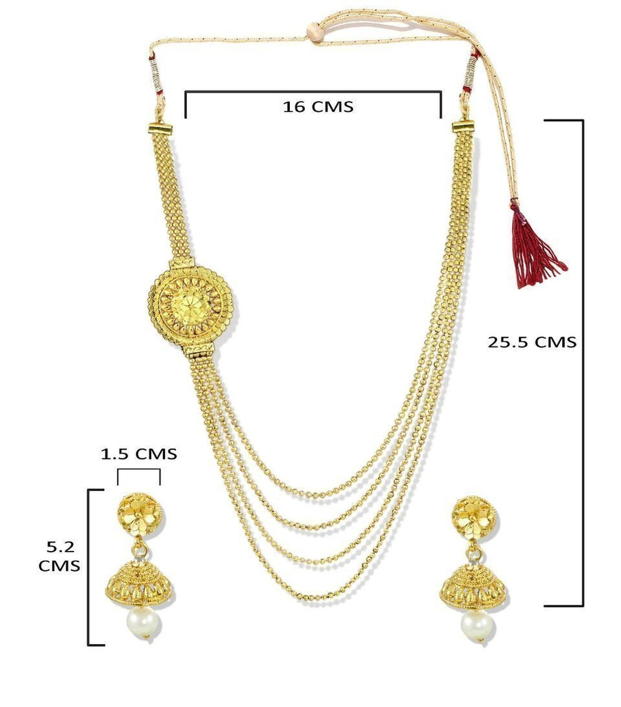 Zaveri Pearls Gold Look Haram Necklace Set
