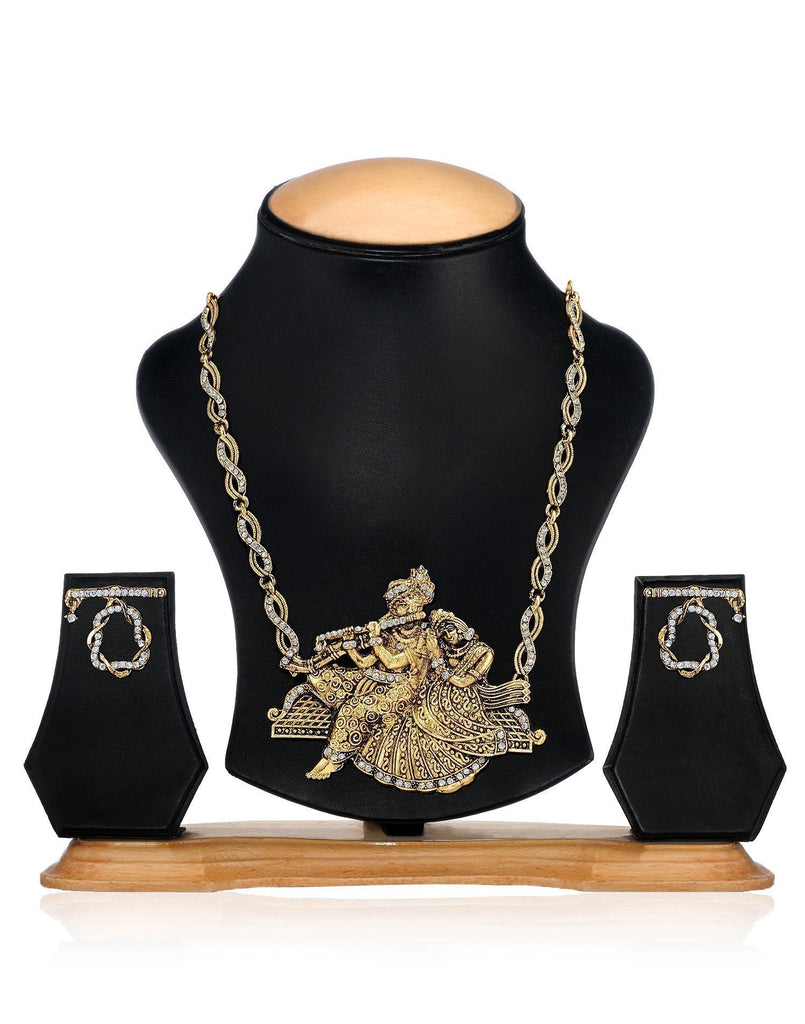 Zaveri Pearls Radhakrishna Temple Necklace Set