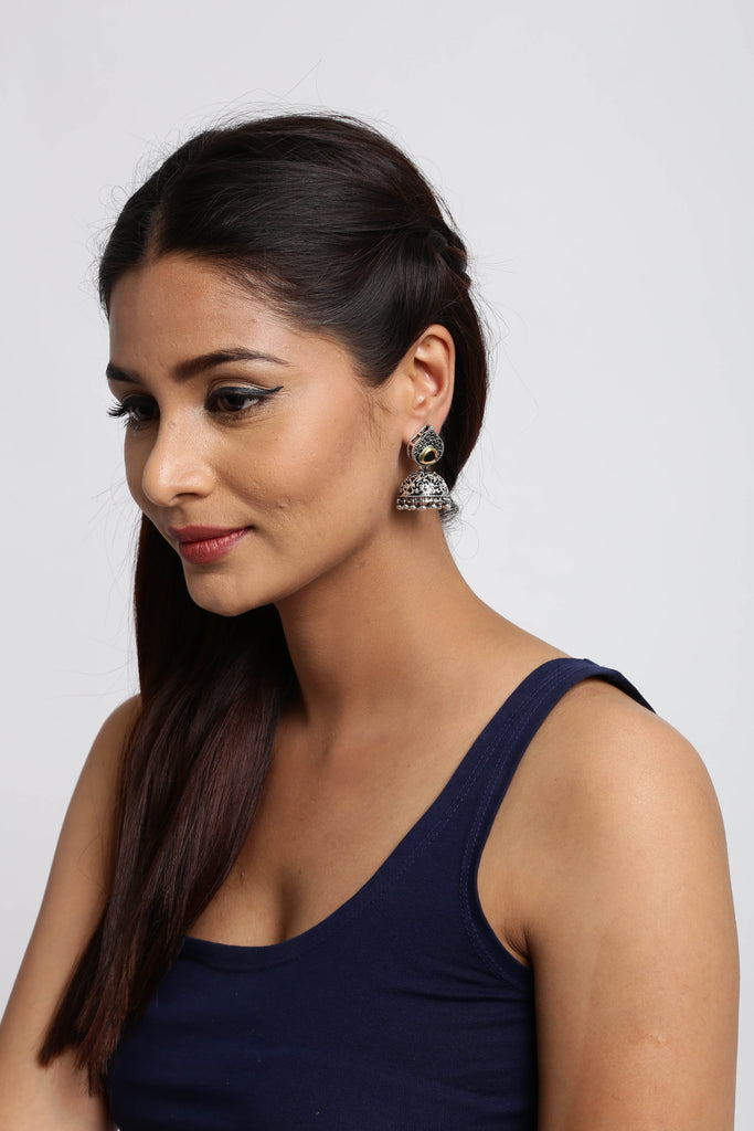 Graceful Oxidised Jhumki Earring - Zpfk5687