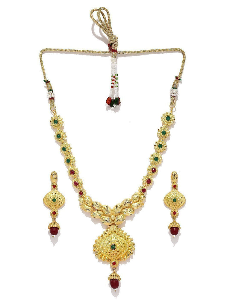 Gold Toned Ethnic Necklace Set - Zpfk5727