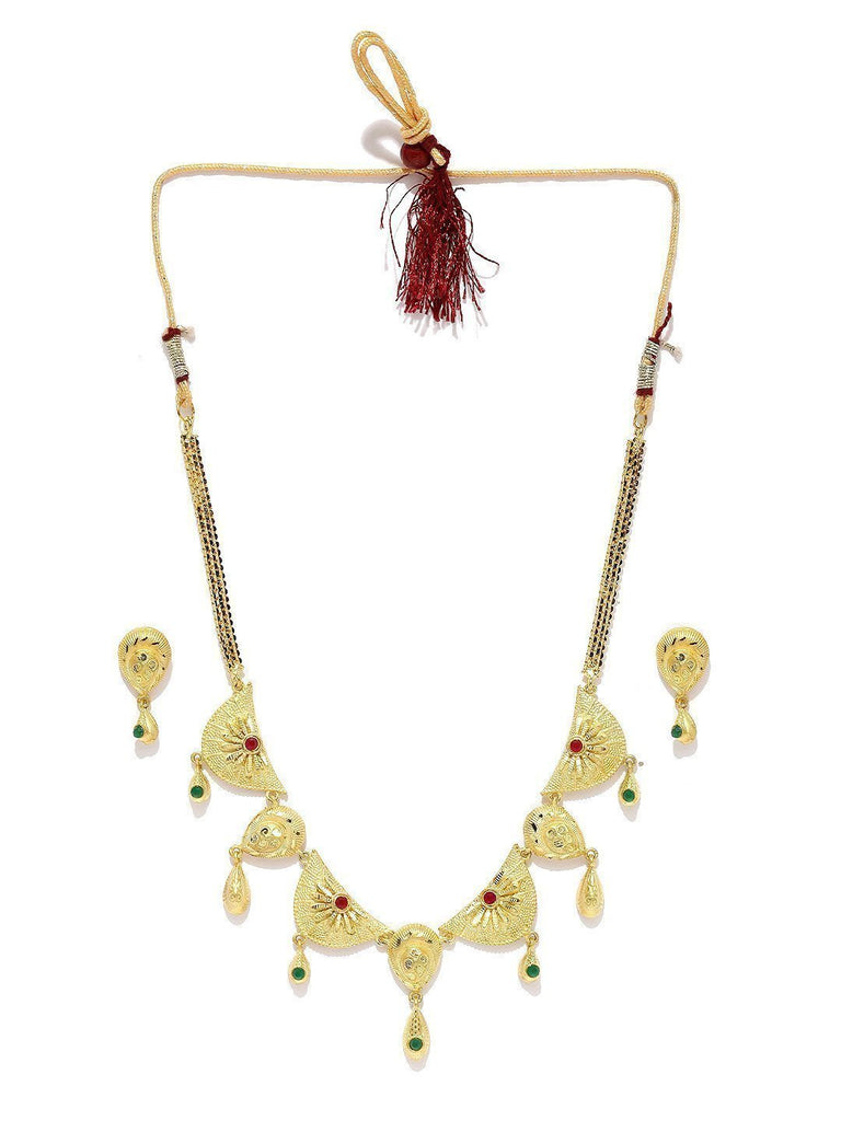 Traditional Gold Toned Necklace Set - Zpfk5730