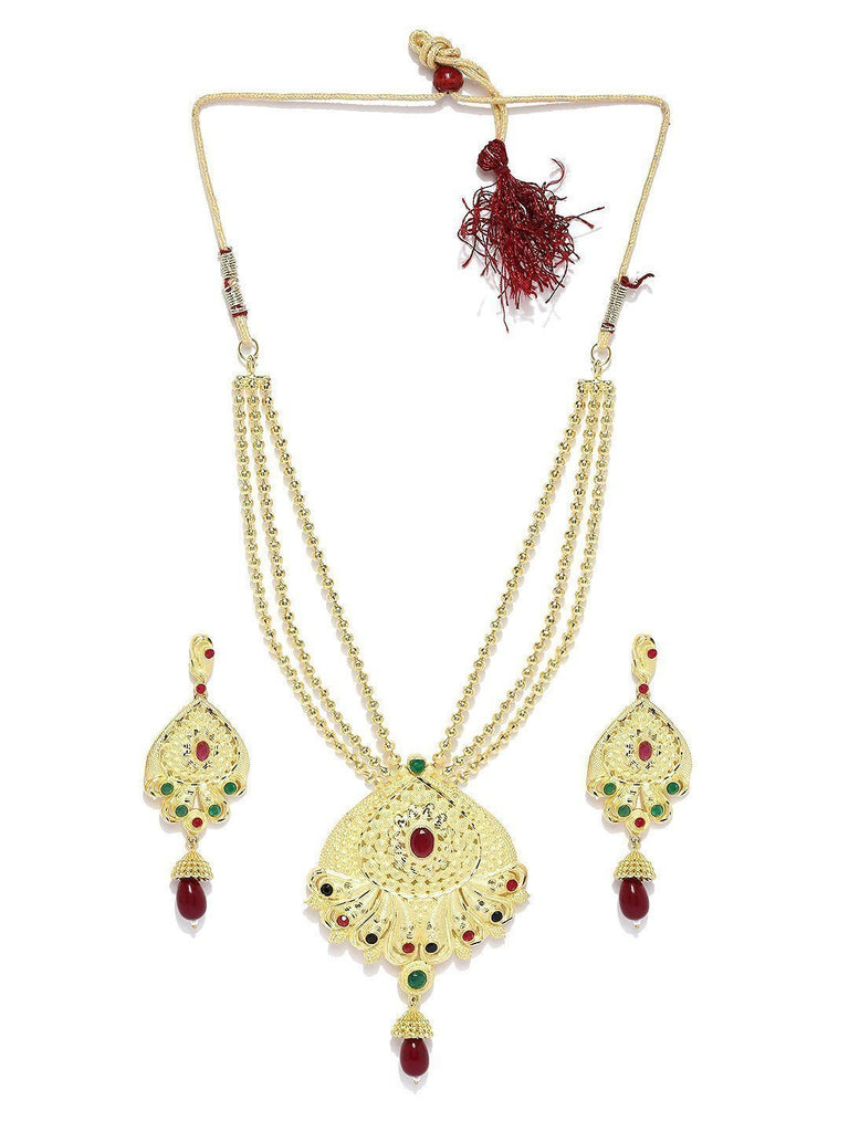 Gold Look Multi Strand Necklace Set - Zpfk5734