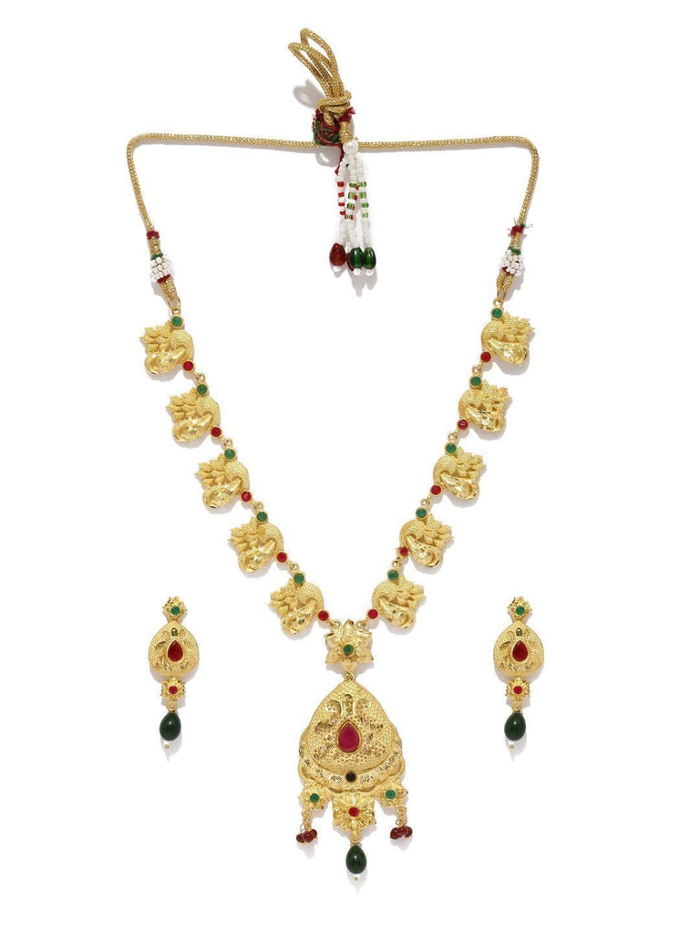 Gold Look Ethnic Necklace - Zpfk5735