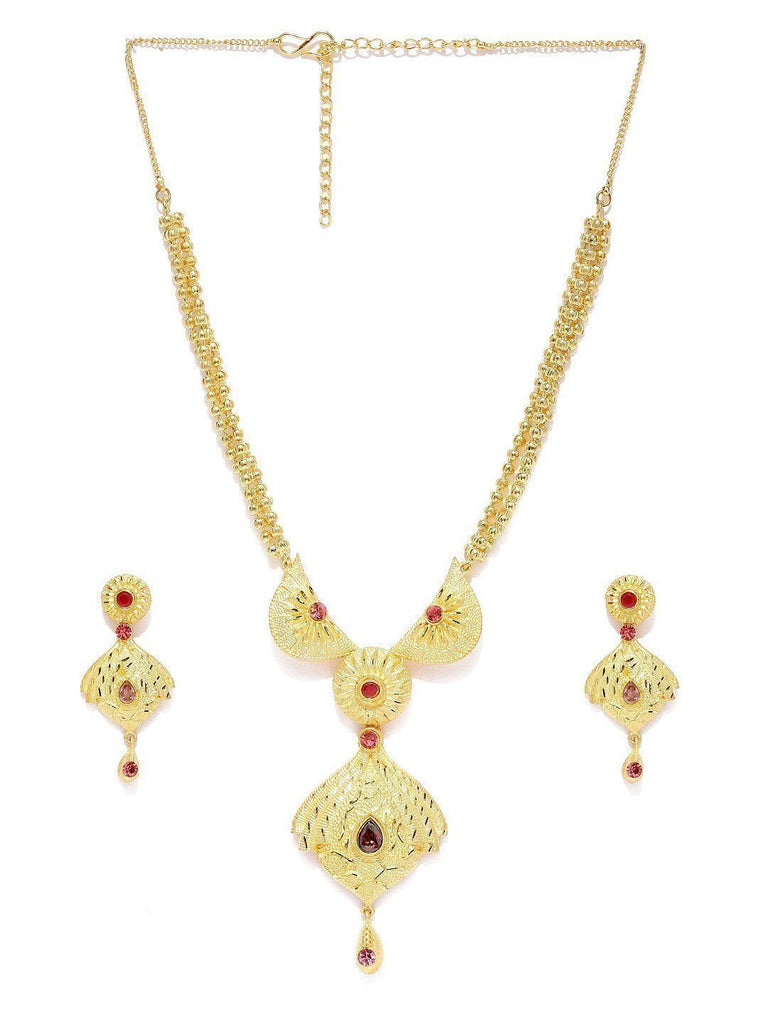 Designer Gold Look Necklace Set - Zpfk5736