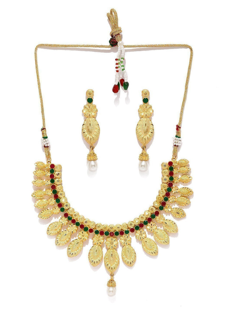 Floral Gold Toned Necklace Set - Zpfk5737