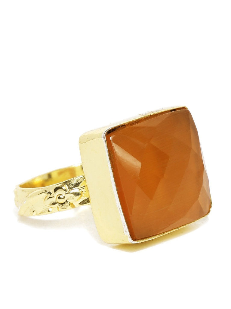 Semi Precious Saffron Orange Stone Finger Ring - Zpfk5774