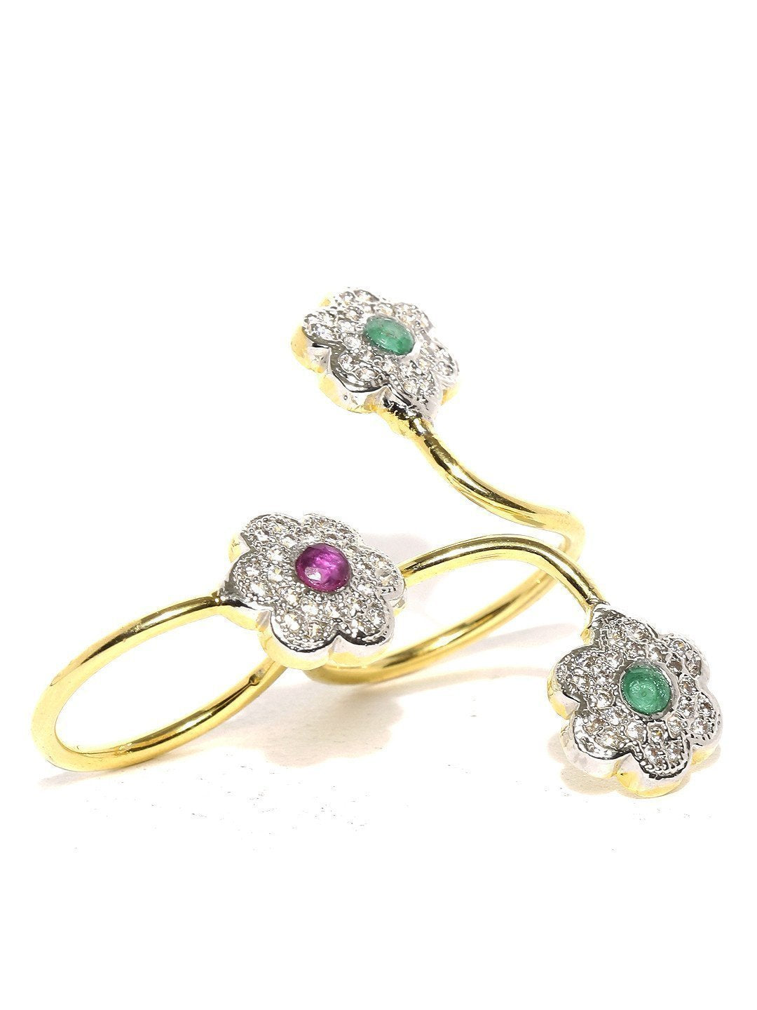 Floral Cubic Zirconia Dual Finger Ring - Zpfk5788