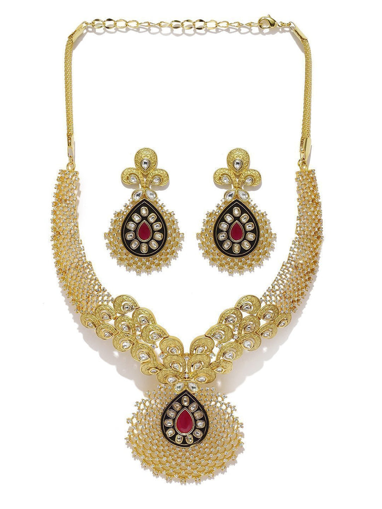 Mesmerising Cubic Zirconia & Kundan Necklace Set - Zpfk5813