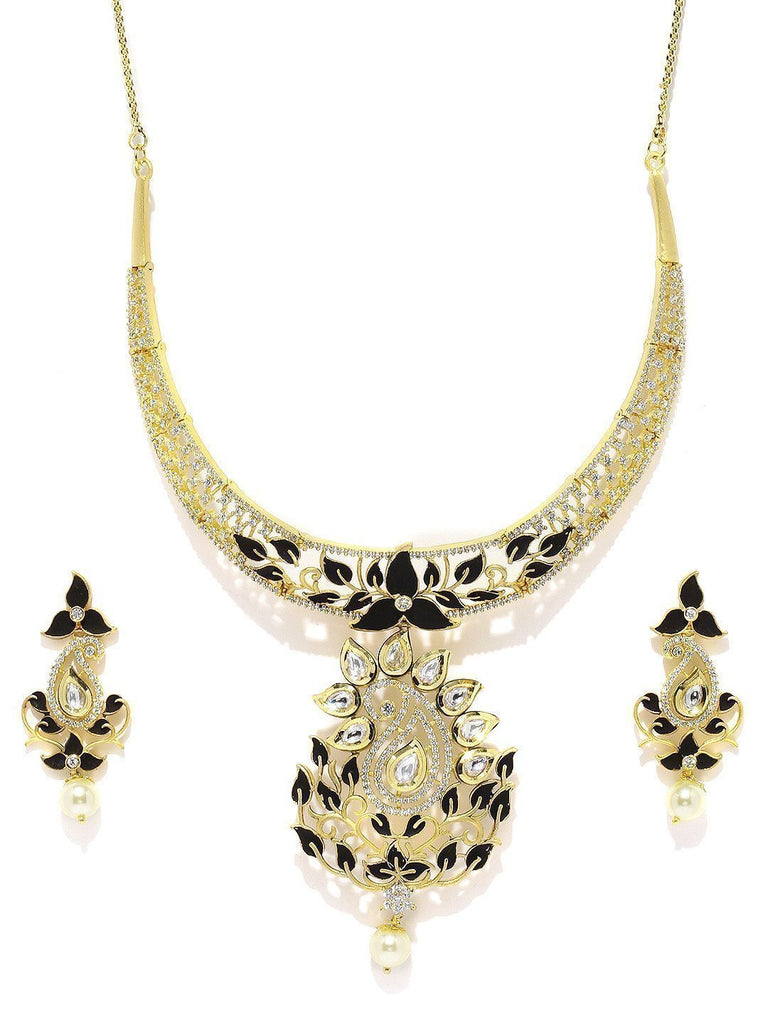 Designer Leafy Kundan & Cubic Zirconia With Pearl Drop Necklace Set - Zpfk5818