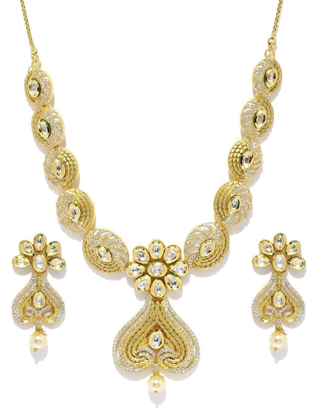 Fashion-Forward Kundan & Cubic Zirconia With Pearl Drop Necklace Set - Zpfk5824