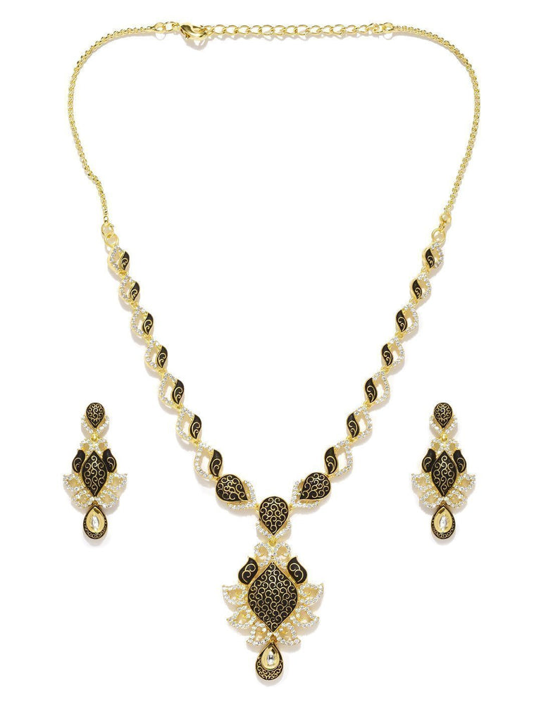 Designer & Finely Detailed Kund & Cubic Zirconia Necklace Set - Zpfk5829
