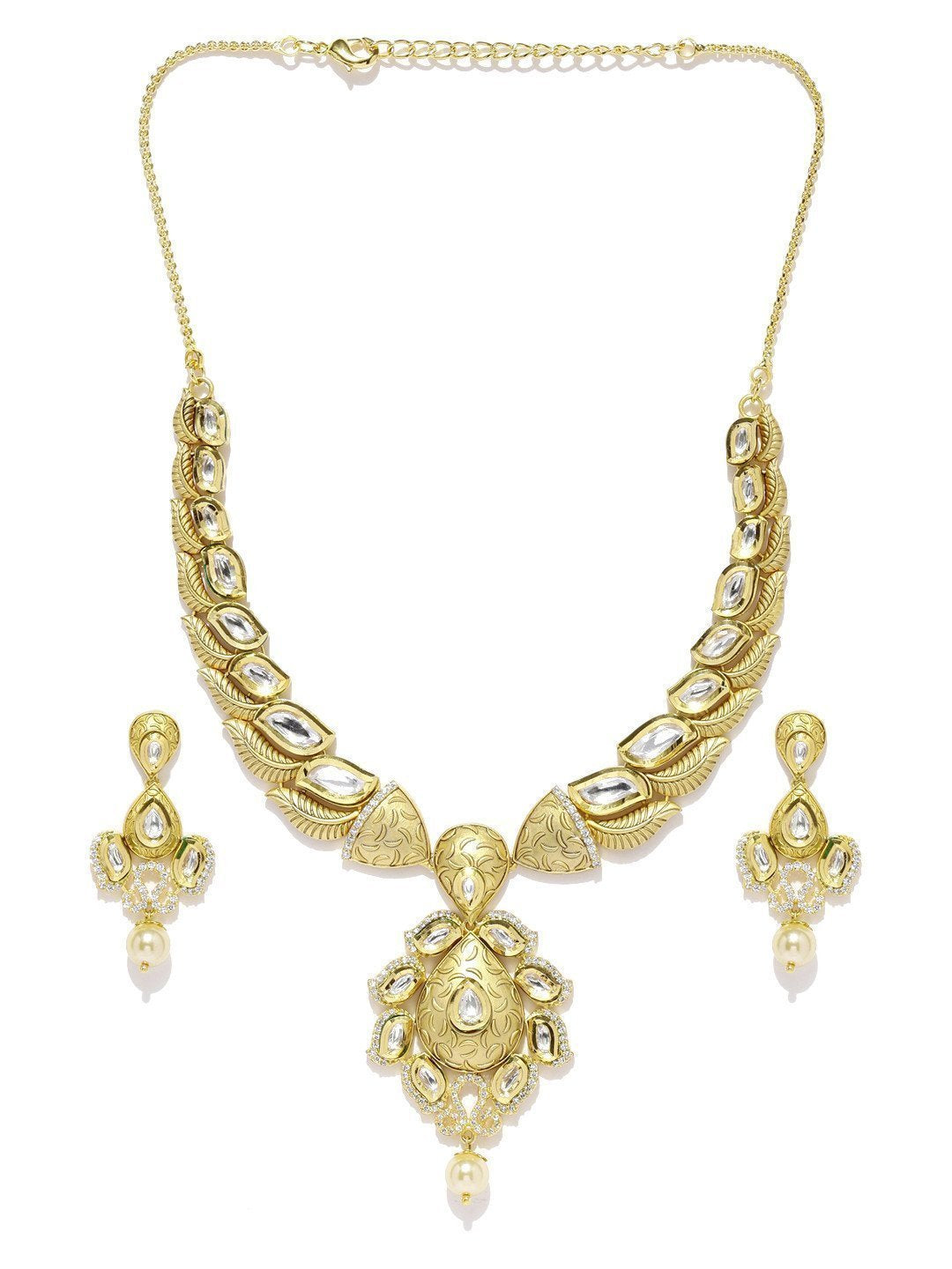 Leafy Kundan & Cubic Zirconia With Pearl Drop Necklace Set - Zpfk5831