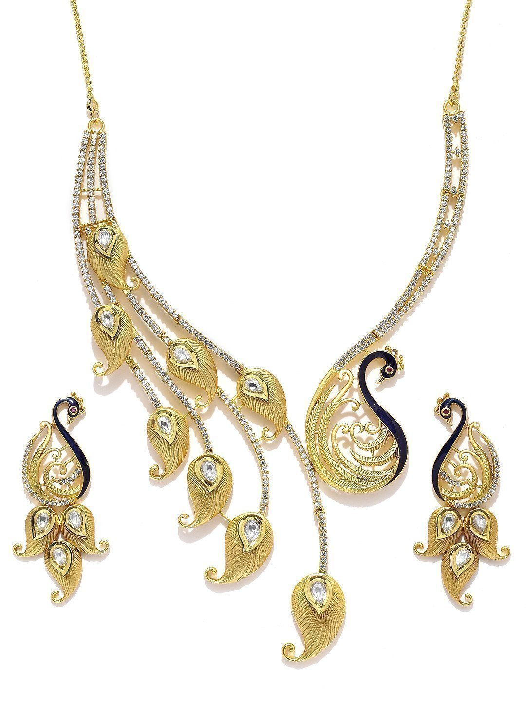 Designer Peacock Kundan & Cubic Zirconia Necklace Set - Zpfk5832