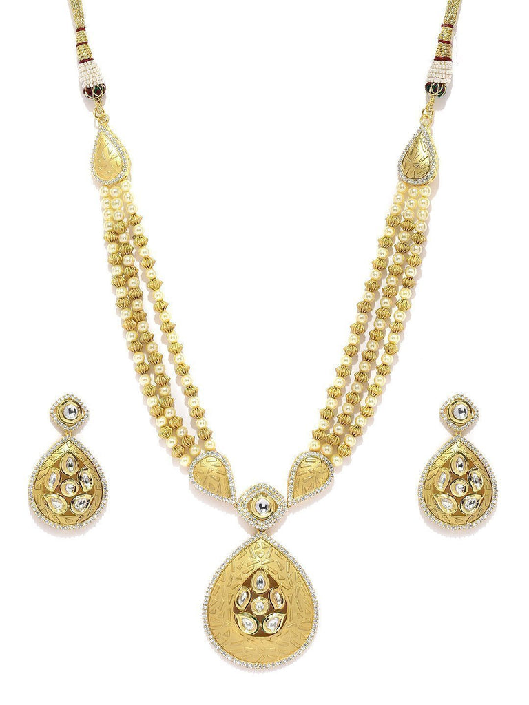 Royal Long Kundan & Cubic Zirconia Necklace Set - Zpfk5833