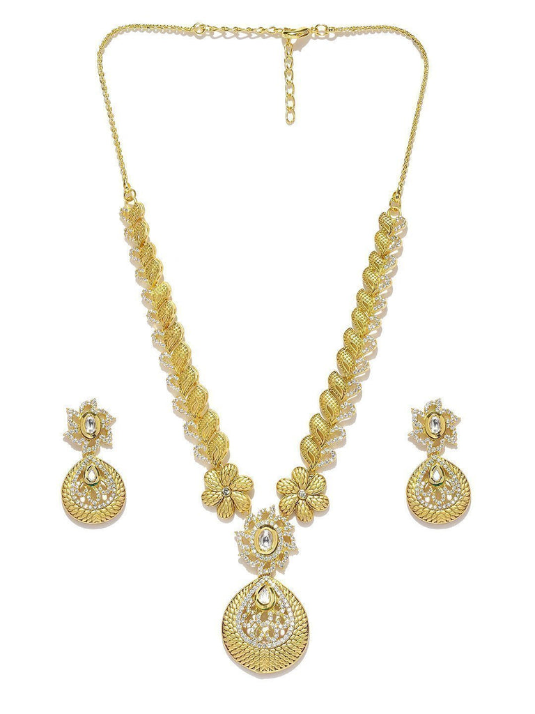 Floral Kundan & Cubic Zirconia Necklace Set - Zpfk5834