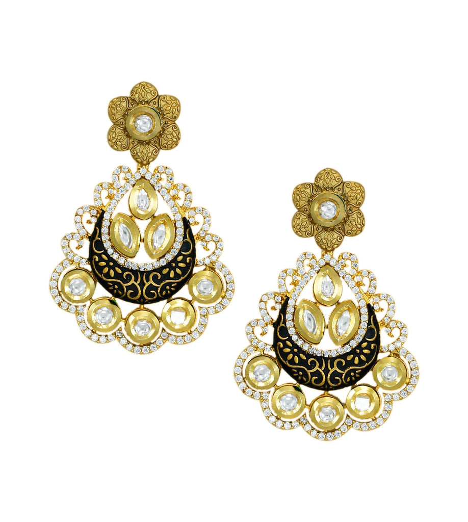 Exquisite Kundan & Cubic Zirconia Necklace Set - Zpfk5835