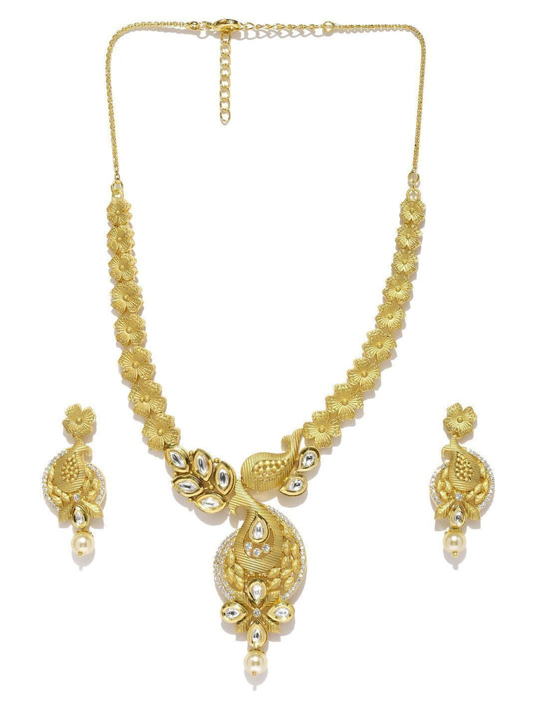 Floral Ethnic Kundan & Cuic Zirconia With Pearl Drop Necklace Set - Zpfk5837