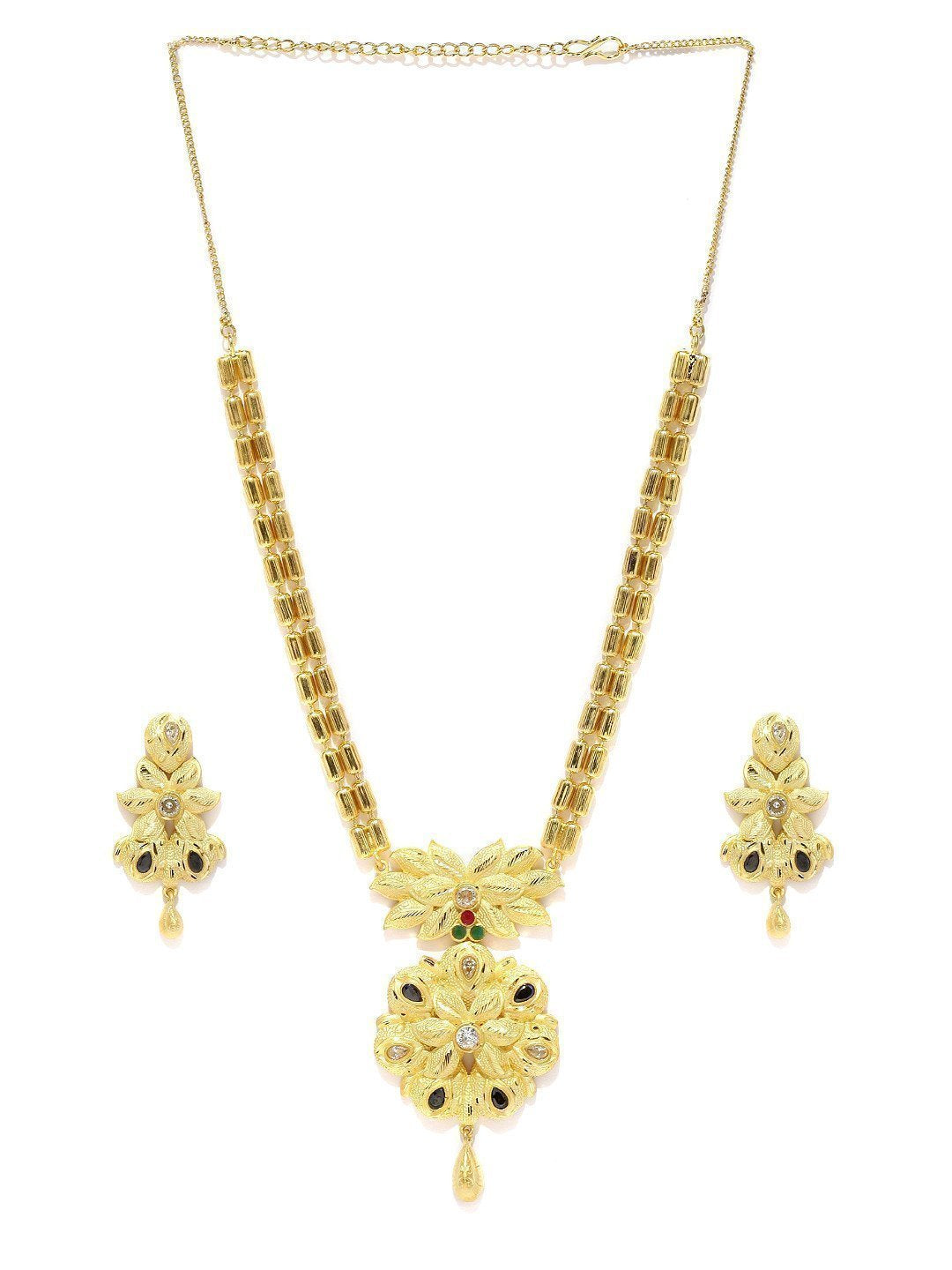 Gold Look Designer Necklace Set - Zpfk5841