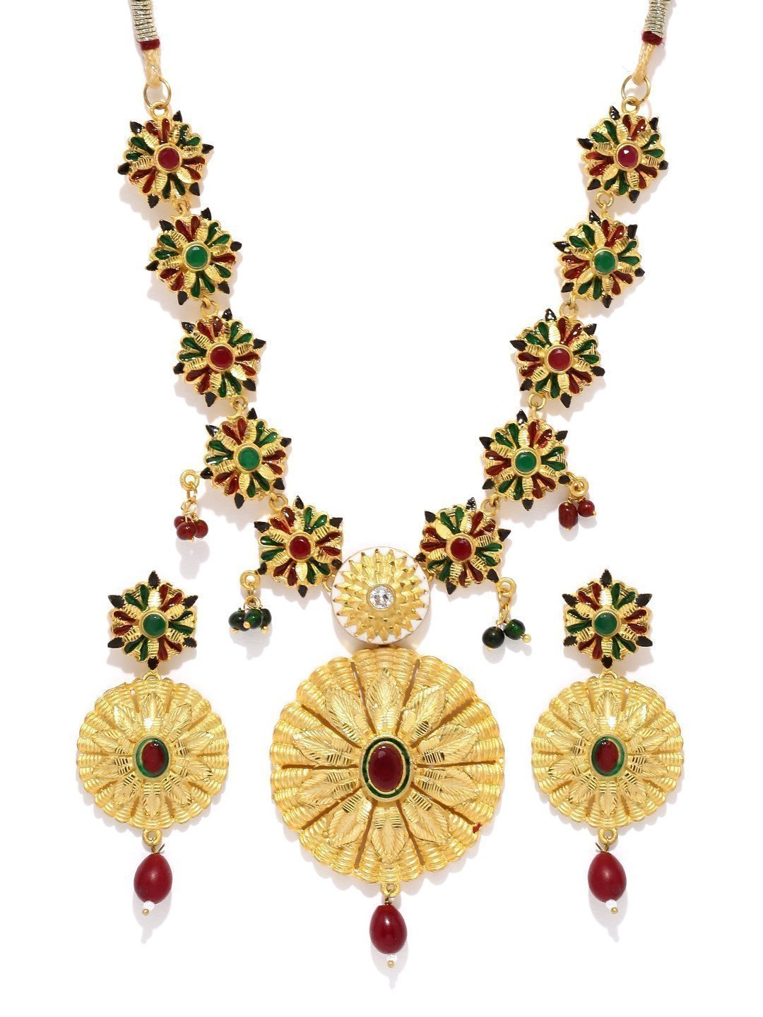 Gold Look Floral Necklace Set - Zpfk5842