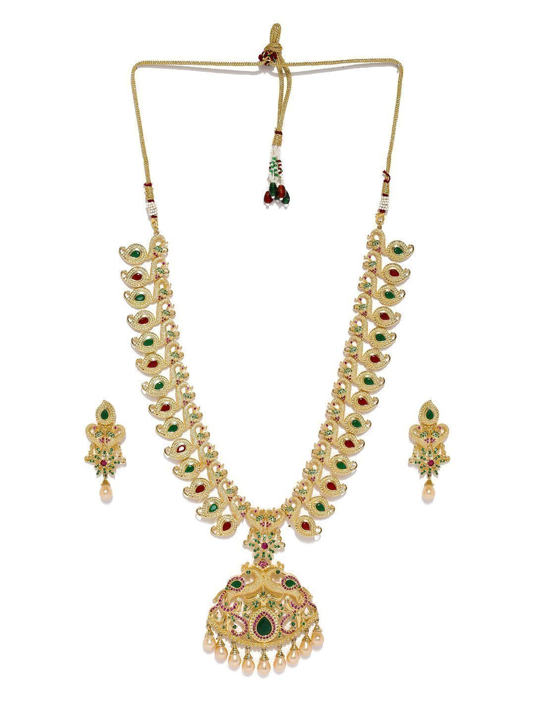Designer Multiple Peacock Cubic Zirconia With Pearl Drops Long Necklace Set - Zpfk5843