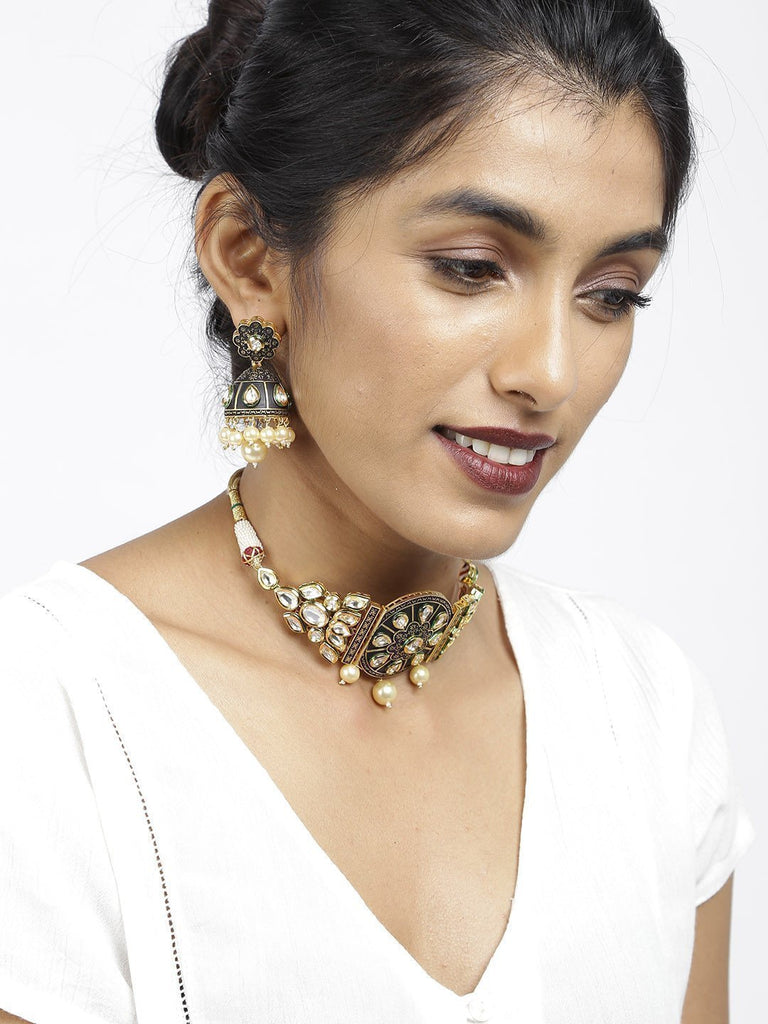 Ethnic Kundan With Pearl Drops Necklace Set - Zpfk5848