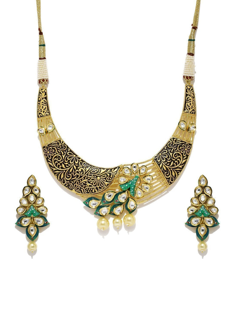 Floral & Beautifully Hand Painted Kundan With Pearl Drops Necklace Set - Zpfk5850