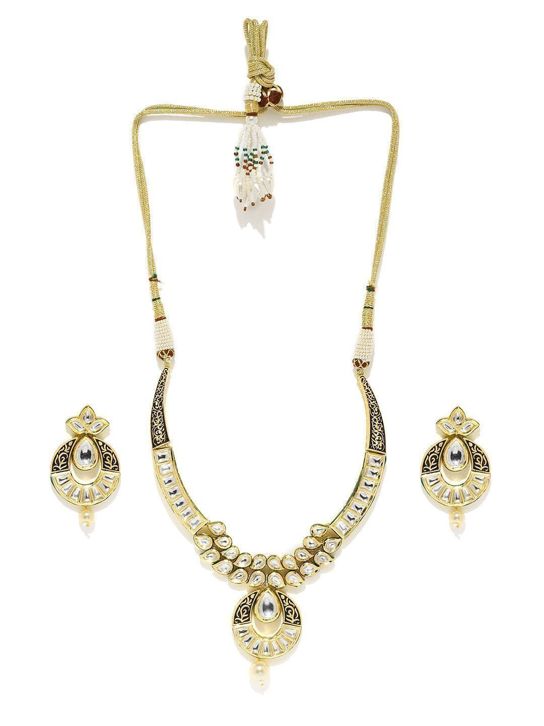Splendid Kundan With Pearl Drop Necklace Set - Zpfk5852