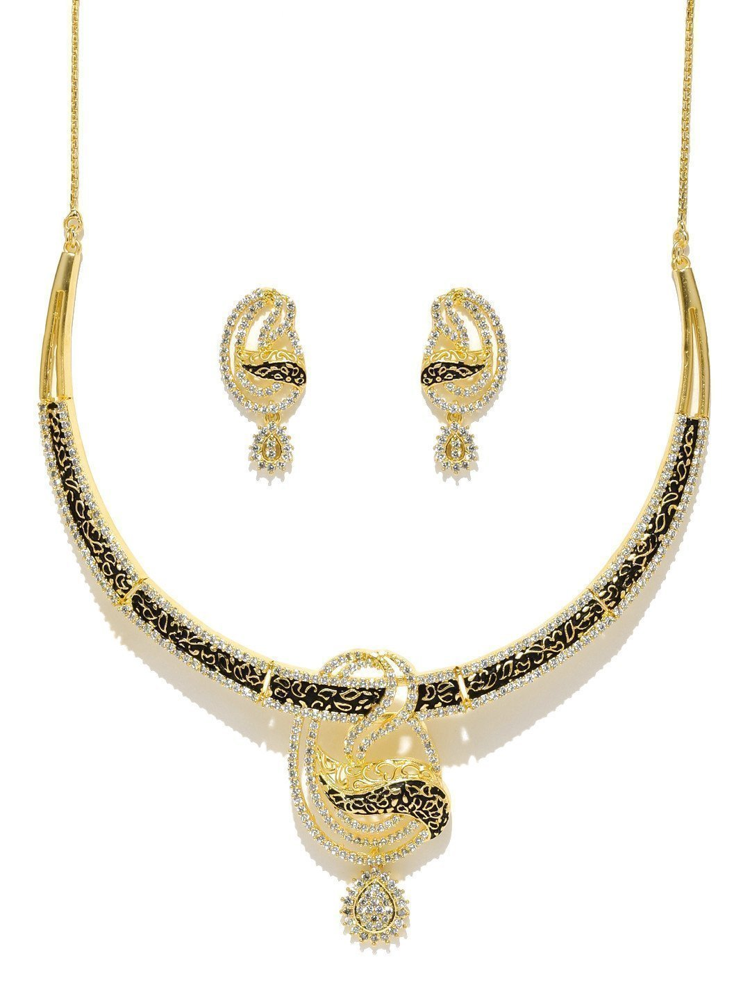 Finely Detailed Cubic Zirconia Necklace Set - Zpfk5853