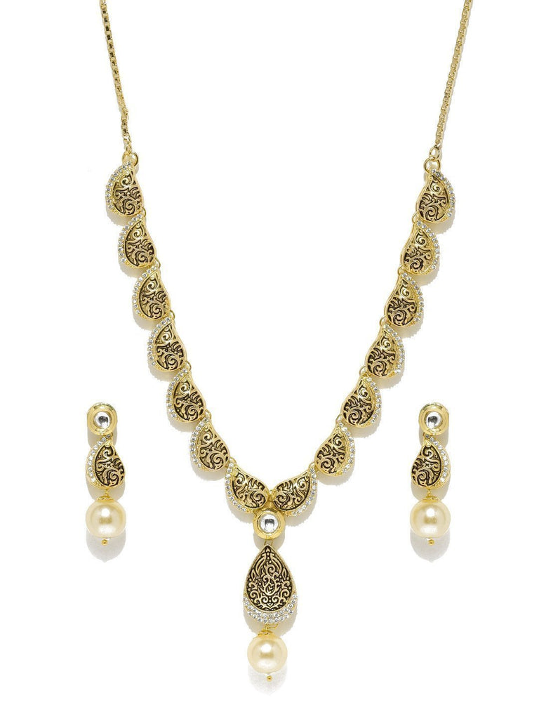 Fashionable Cubic Zirconia With Pearl Drop Necklace Set - Zpfk5854