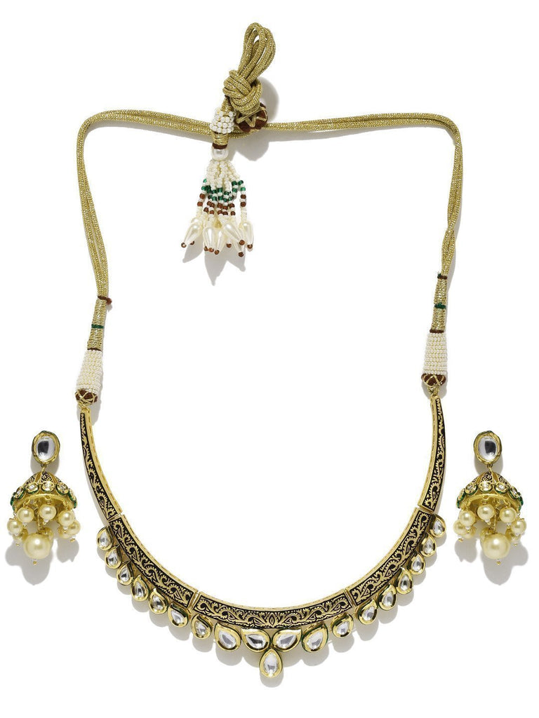 Ethnic Sleek Kundan Necklace Set - Zpfk5857