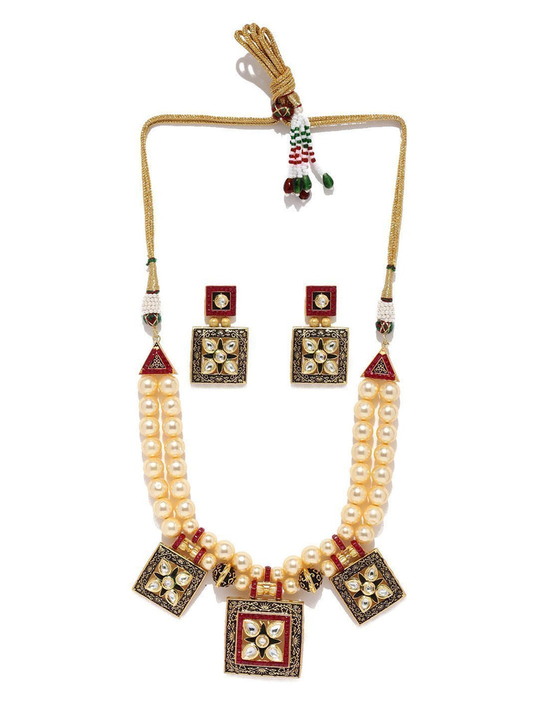Royal Look Pearl Mala Necklace Set - Zpfk5859