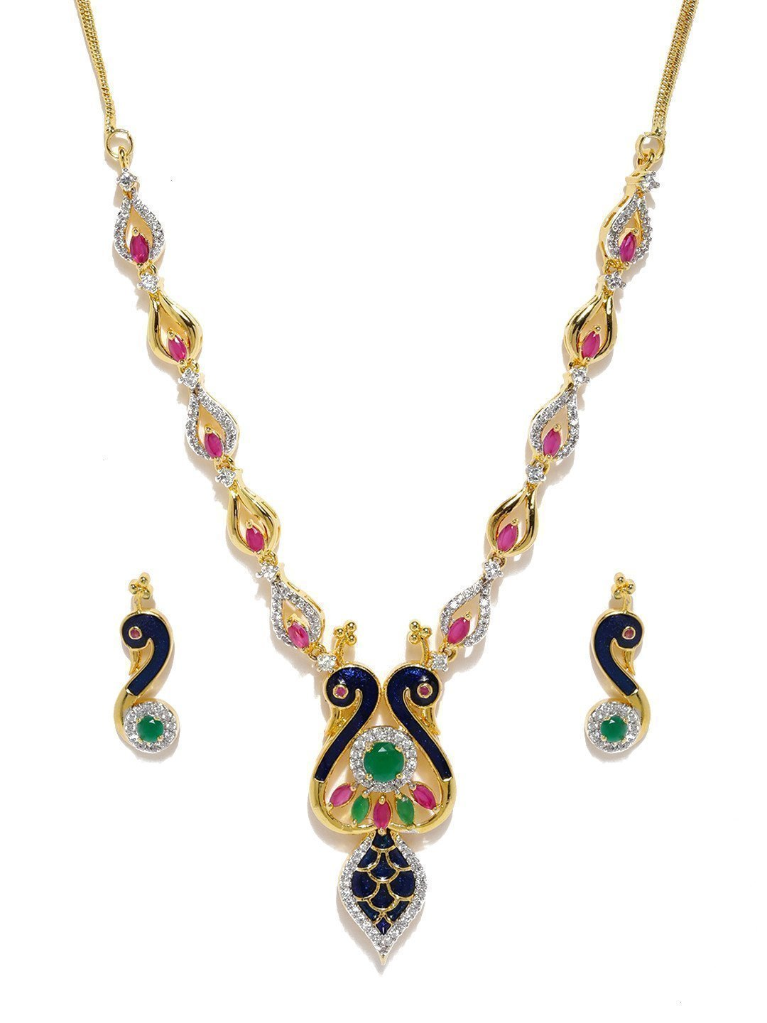 Enamelling Twin Peacock Designer Cubic Zirconia Necklace Set - Zpfk5867