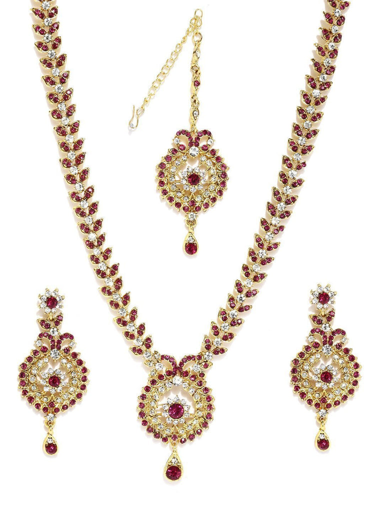 Sparkling Austrian Diamonds Long Necklace Set With Maang Tika - Zpfk5869