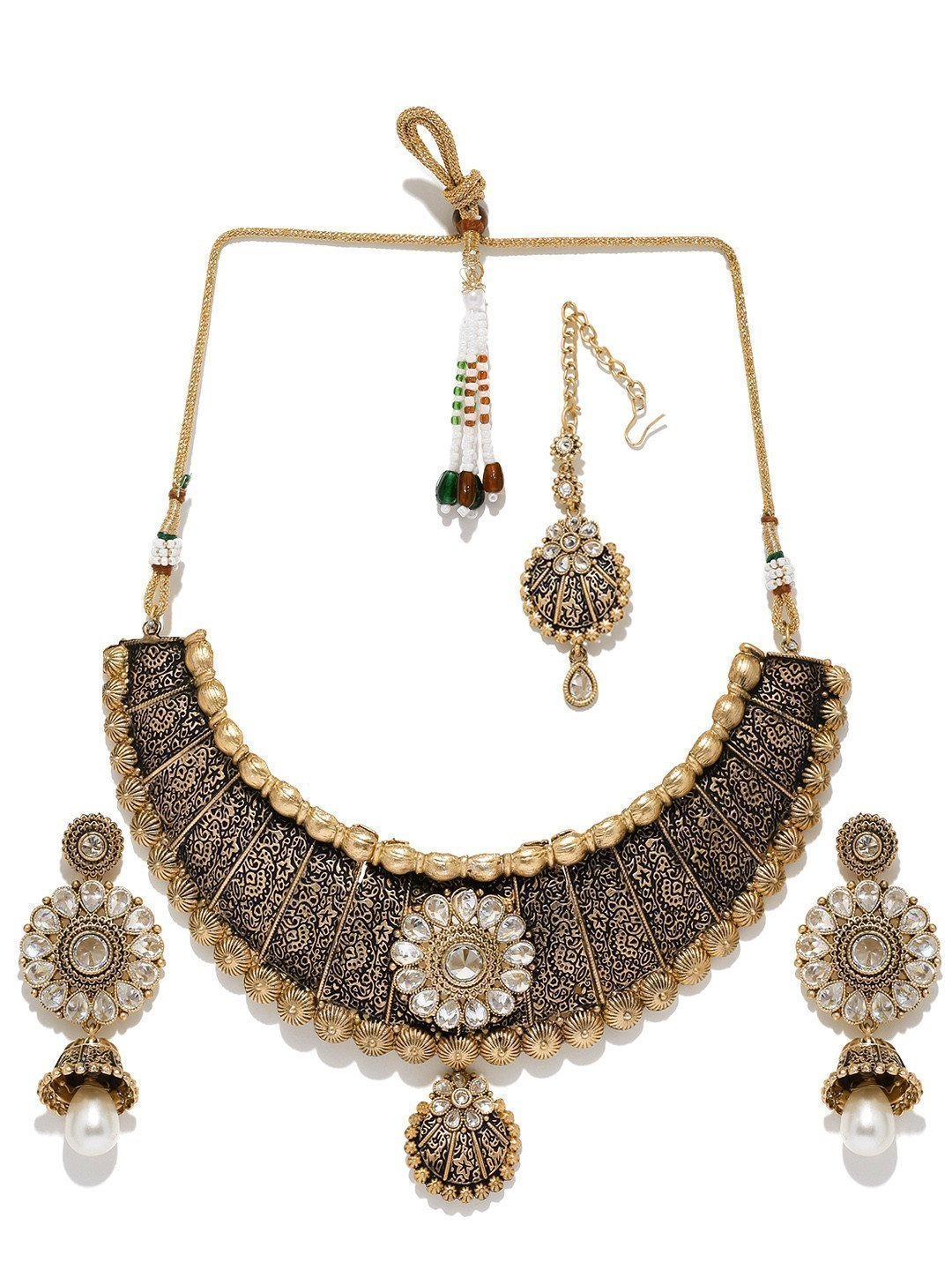 Finely Detailed Wedding Collection Necklace Set With Maangtika - Zpfk5870