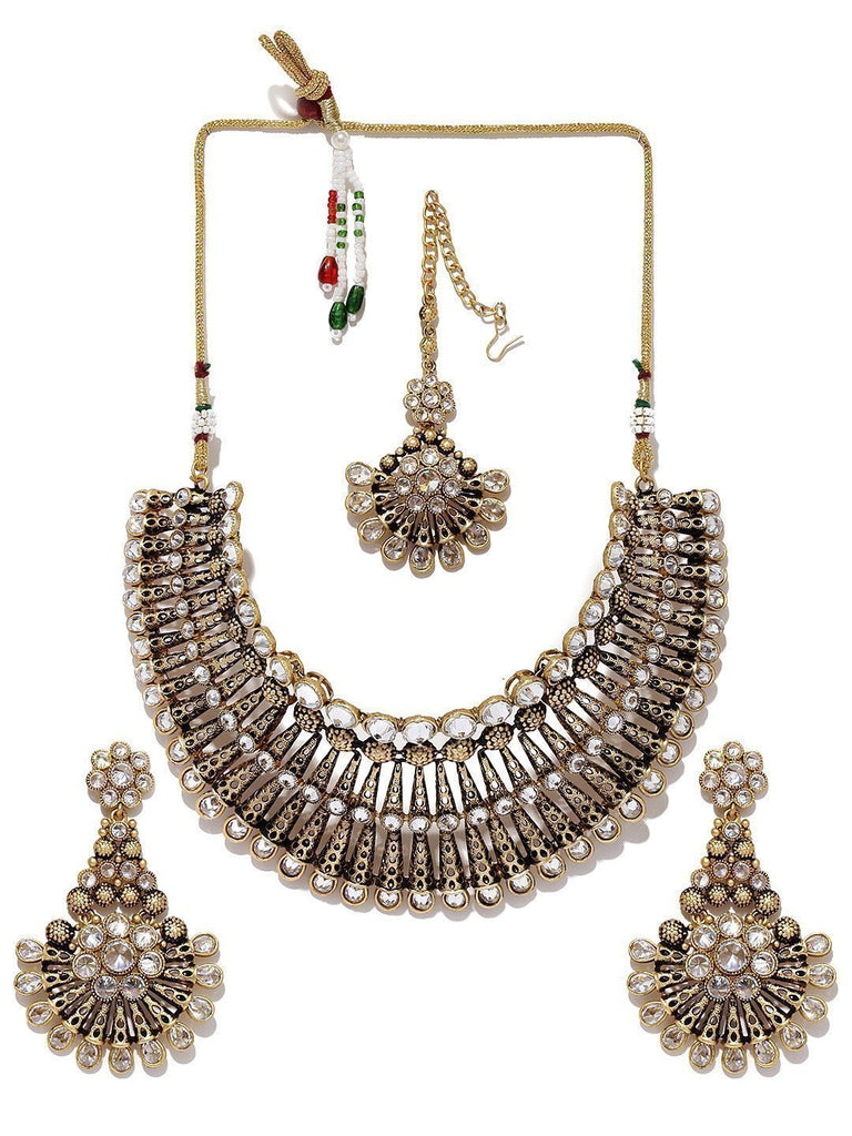Finely Detailed Wedding Collection Necklace Set With Maangtika - Zpfk5872