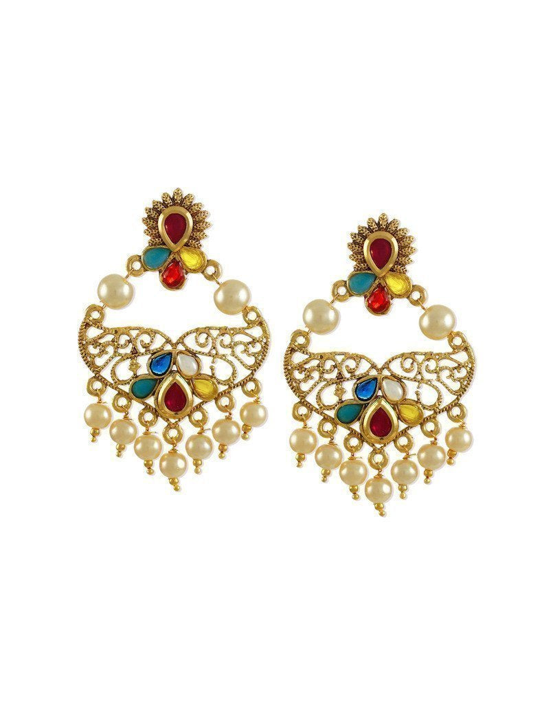 Traditional Multicolor Stones With Pearl Drops Earring - Zpfk5880